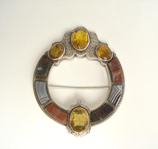 A Victorian Scottish agate plaid brooch