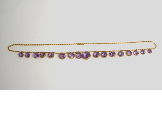 A late 19th century amethyst fringe necklace