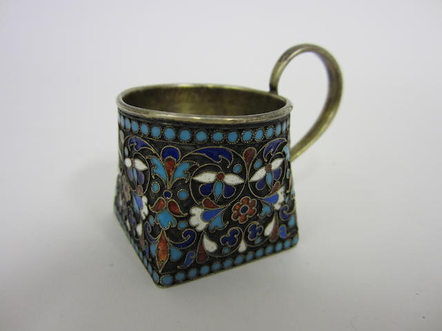 A Russian silver-gilt and enamel small mug By GK, untraced, Moscow circa 1880