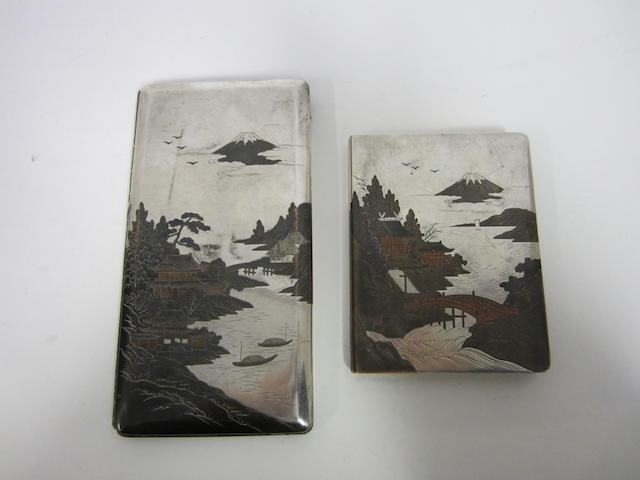 A Japanese silver and mixed metal cigarette case stamped Silver, 950, circa 1940