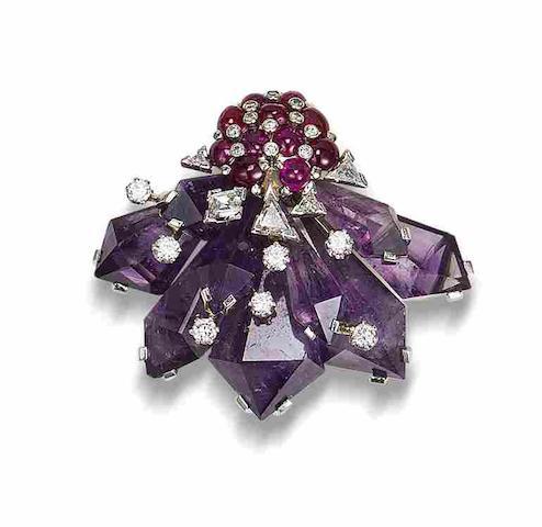 An amethyst, ruby & diamond clip brooch, by Ernst Paltscho,