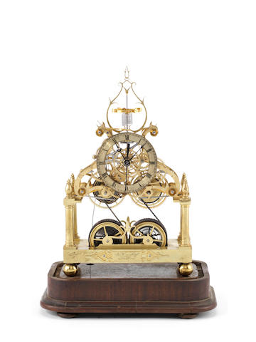 A very fine mid 19th century brass centre-seconds skeleton clock with helical balance and lever escapement James Condliff, Liverpool 2