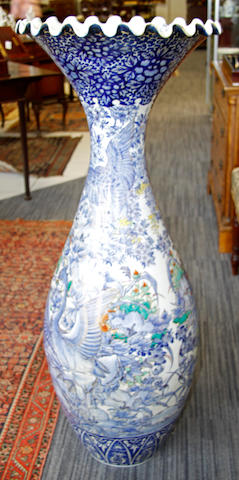 A Japanese blue and white vase of large proportions 19th/early 20th Century,