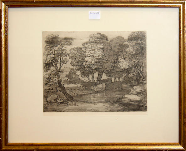 After Thomas Gainsborough (British, 1727-1788)The Etched & Engraved Prints of Thomas GainsboroughNew impressions by Philip McQueen, published by Iain Bain at John Boydell Press. 10 framed prints including 'Wooded Landscape with Cows beside a Pool' and 'Wooded Landscape with Country Cart and Figures'.from an edition of 75 Soft Ground & Aquatint and in Mezzotint 27 x 35.5cm (10 5/8 x 14in).