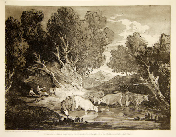After Thomas Gainsborough (British, 1727-1788) The Etched & Engraved Prints of Thomas Gainsborough New impressions by Philip McQueen, published by Iain Bain at John Boydell Press. 11 prints presented in a folio including 'Wooded Landscape with Cows beside a Pool' and 'Wooded Landscape with Country Cart and Figures'.