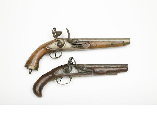 A French 12-Bore Flintlock Pistol, And A Liège 15-Bore Flintlock Military Pistol