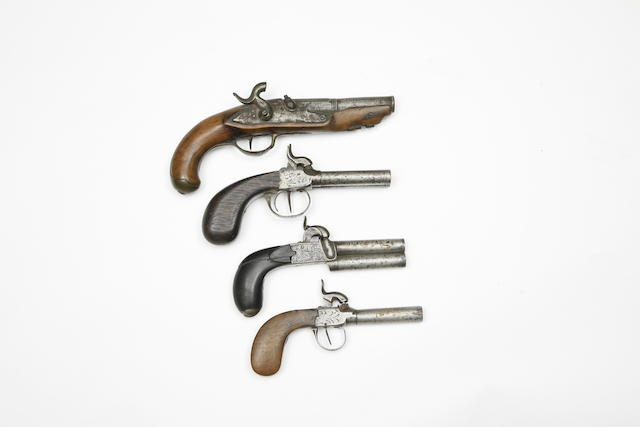 A Liège 54-Bore Over-And-Under Percussion Box-Lock Pocket Pistol, A Liège 80-Bore D.B. Percussion Box-Lock Pistol, A Continental 50-Bore Percussion Box-Lock Pocket Pistol, And A Liège 40-Bore Percussion Pistol