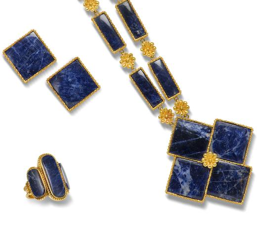 A sodalite collar necklace, earring and ring suite,  by Lalaounis, (3)