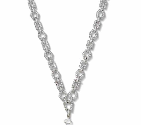 An art deco diamond necklace,