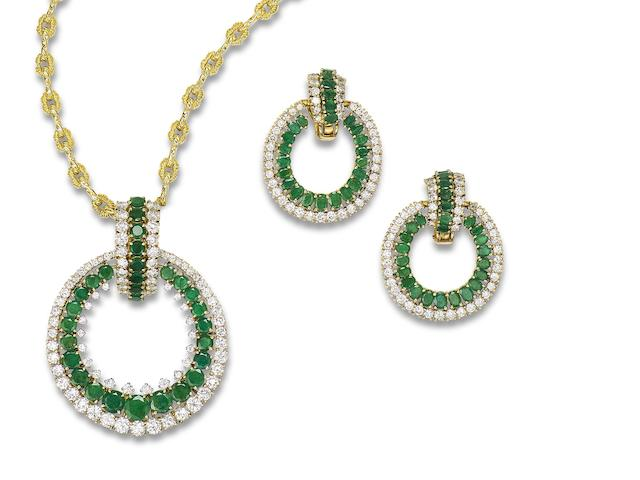 An emerald and diamond pendant and earring suite, (2)