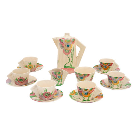 A Clarice Cliff 'Rhodanthe' pattern conical coffee set