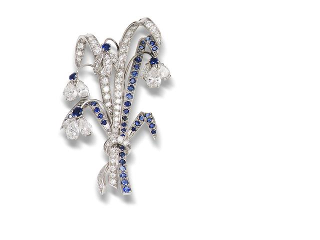 A diamond and sapphire spray brooch,