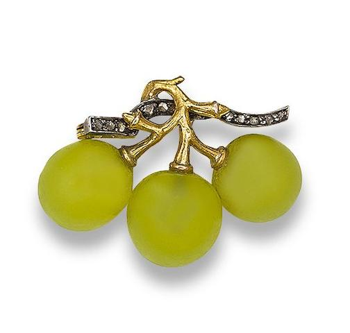 A paste and diamond 'grapes' brooch, attributed to Fonsèque et Olive,