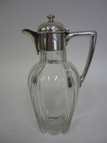 A Victorian silver mounted glass claret jug by Fenton Bros. Ltd., Sheffield 1899
