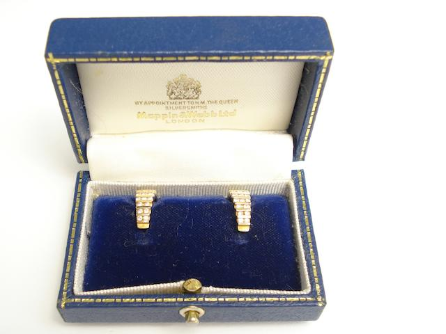A pair of 18ct gold diamond ear hoops