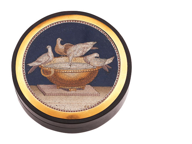A mid 19th century micromosaic box bearing Dutch import marks for precious metal 1831 - 1893