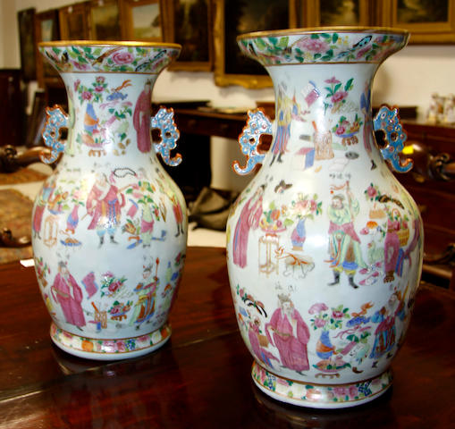 A pair of Chinese famille rose pattern baluster vases,