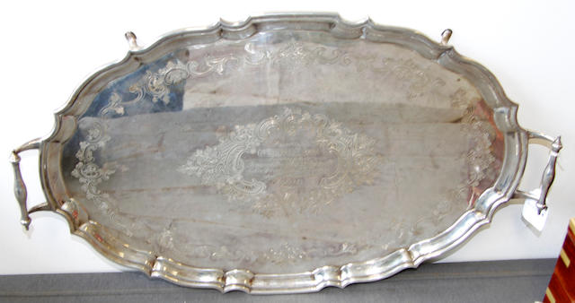 A silver two-handled tray