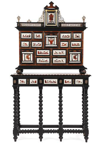 A Spanish late 19th century Baroque style gilt-metal mounted rosewood, ivory, tortoiseshell, parquetry and ebonised wood cabinet-on-stand