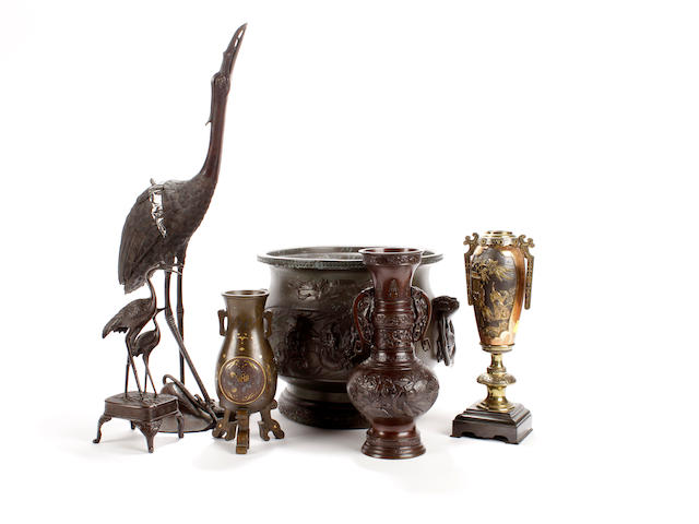 An early 20th century Chinese twin-handled bronze Jardiniere