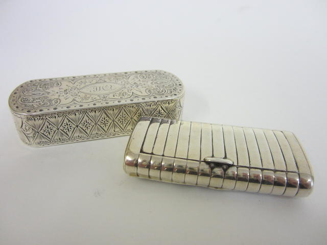 A George III silver snuff box by Phipps and Robinson, London 1795  (2)