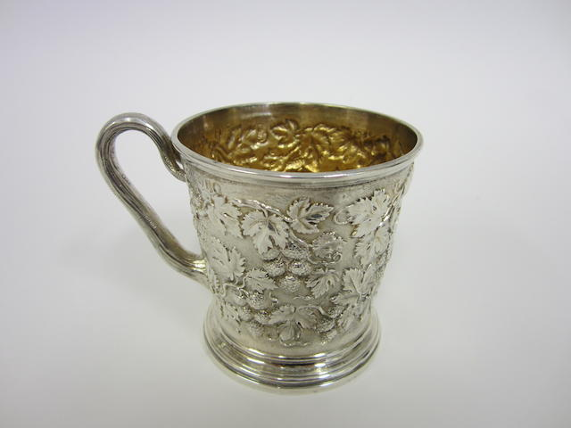 Victorian silver christening mug by Hunt and Roskell, late Storr and Mortimer, London 1865