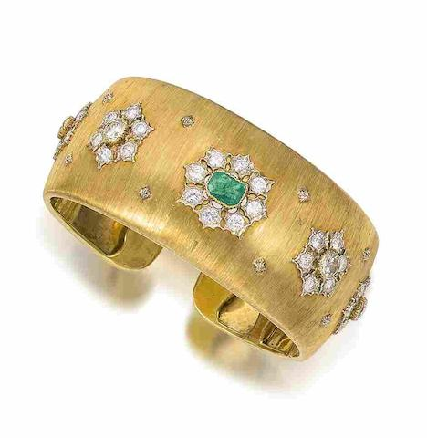 An emerald and diamond cuff,  by Buccellati