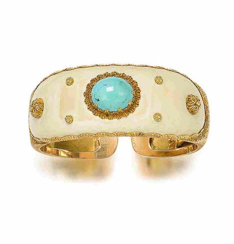 An ivory and turquoise bangle,  by Buccellati,