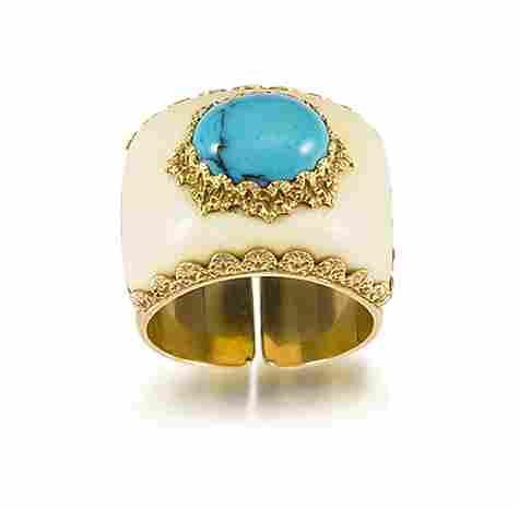 An ivory and turquoise ring, by Buccellati,