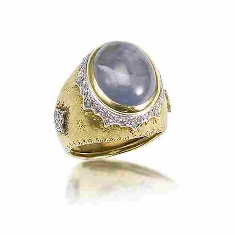 A star sapphire and diamond ring, by Buccellati