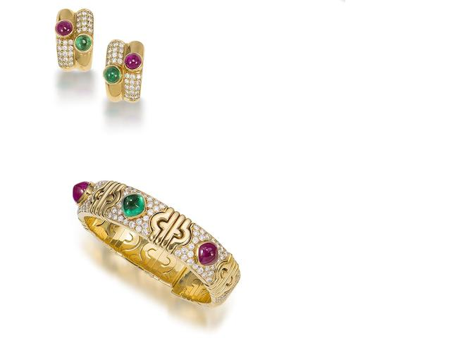 A ruby, emerald and diamond 'Parentesi' bangle and earring suite,  by Bulgari (2)