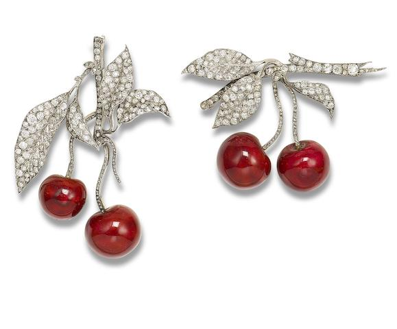 A pair of diamond and enamel 'cherry' brooches (2)