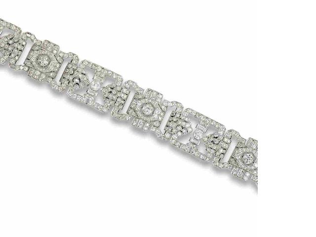 An art deco diamond bracelet,