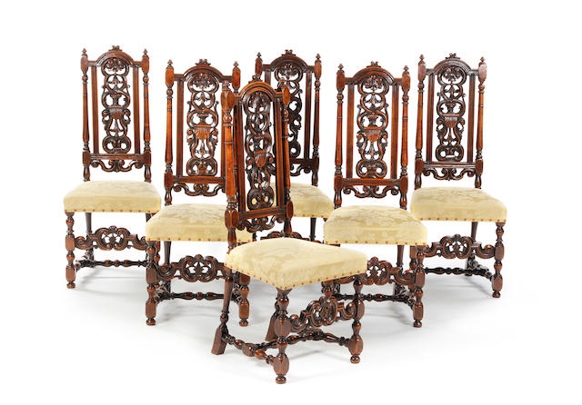 Set of six carved walnut high back dining chairs
