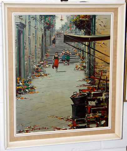 ** Ferdelba, 20th Century Italian street scene; and companion and slightly smaller,
