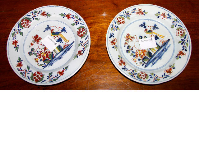 Pair of 18th English Delft side plates,
