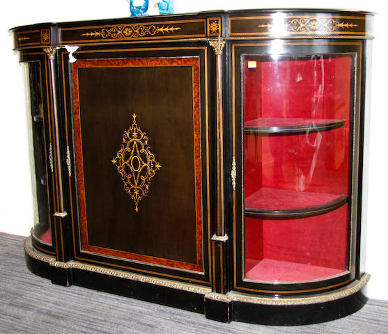 A Victorian ebonozed and gilt metal mounted breakfront credenza,