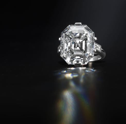 An elegant diamond single-stone ring,