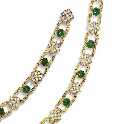 A diamond and emerald necklace/bracelet combination, by Gérard, (4)