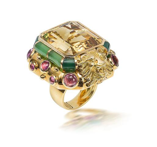 A citrine, tourmaline and chrysophrase ring, by Marchak,