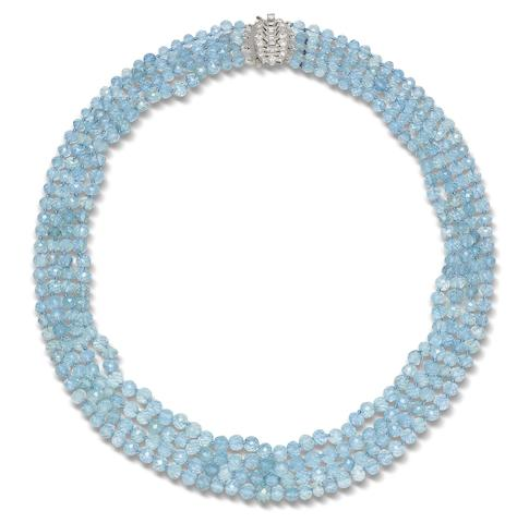 An aquamarine necklace with an art deco clasp, by Yard