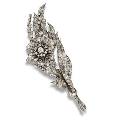 A 19th century diamond flower brooch, Studio Cartier,