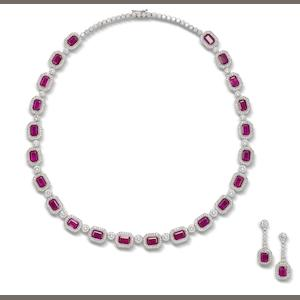 A ruby and diamond necklace and earring suite (2)