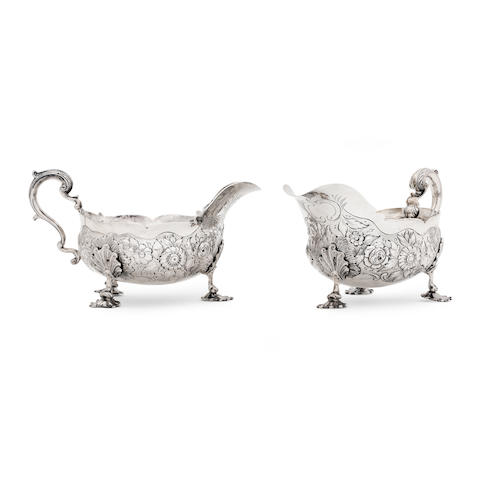 A pair of William IV silver sauceboats by Edward Farrell, London 1834