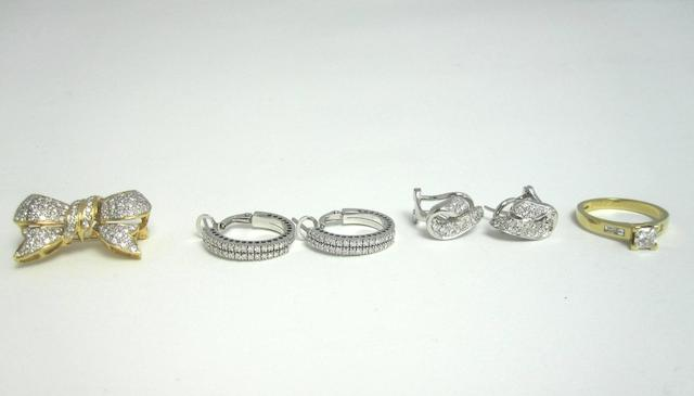 A small collection of diamond jewellery