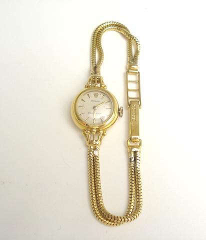 A lady's 18ct gold 'Precision' wristwatch, by Rolex, 1955