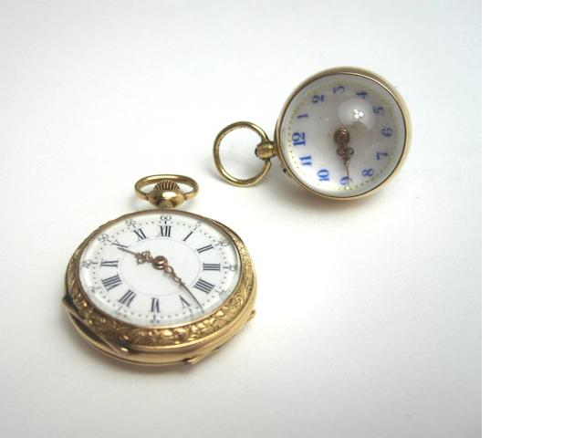 An open-faced pocket watch and a bullseye fob watch