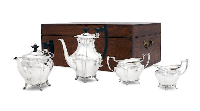 A Victorian cased four piece silver tea service  by Turner Bradbury, London 1898/1904