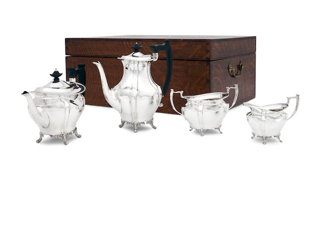 A cased four piece silver tea service  by Turner Bradbury, London 1898/04