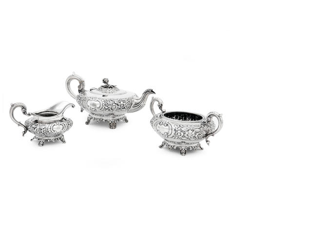 A William IV silver tea service By James Fray, Dublin 1833/34